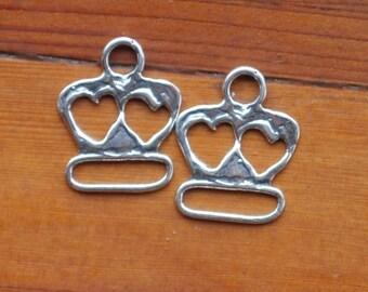 2 Artisan Double Heart Multi Links In Sterling Silver