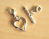 1 Pair Detachable Heart Shaped Toggle Clasps / Extender