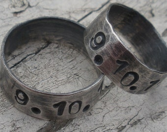 "Sterling Silver Ring Set of Two Artisan Rings Item #100107 - ""Special Date Rings"""