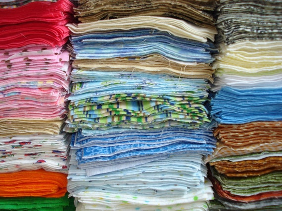 """Baby or Toddler Large Grab Bag - 165 Flannel 5"""" Quilt Squares - Prewashed and Ready to Go"""