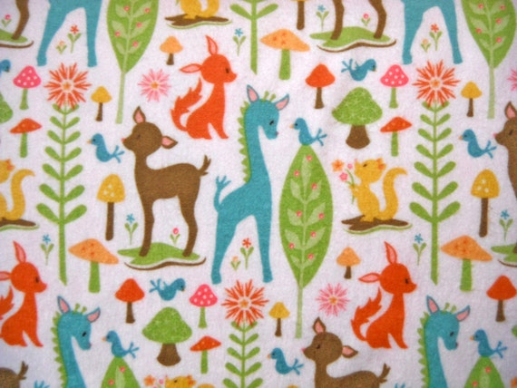 Flannel Woodland Tails Pink Deer Baby Toddler Girl Fabric