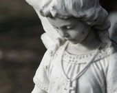 Stone Angel Child 8x10 Photograph with 11x14 mat statue cemetery graveyard gothic guardian childhood wings cottage shabby chic religion