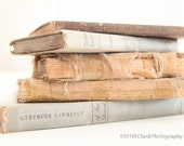 The Book Kiss 5x7 signed photo read shabby chic cottage library cream taupe gray decor feminine dreamy vintage rustic