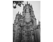 York Minster Cathedral 8x12 signed black and white photo england travel gothic architecture moody church historic Yorkshire