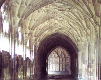 Gloucester Cathedral The Cloisters 8x10 Photo 11x14 mat england church shabby decor feminine mystic architectural dream passage prayer stone