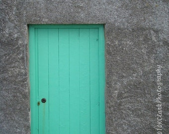 Aqua Scottish Door  8x10 signed photo scotland stone cottage teal blue green minimal decor feminine gray