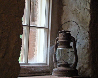 A light in the window Fine art Photography rustic country farm mill lantern light stone vintage historial waiting
