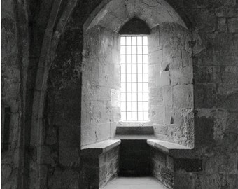 The Embrasure   8x12 black and white signed photo Stone scotland abbey religious decor window light shadows medieval