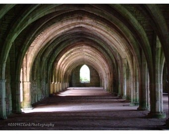 Dark Stonework Calls 8x10 Photo 11x14 mat england fountains abbey vaulted stone ruin passage mysterious religous historical