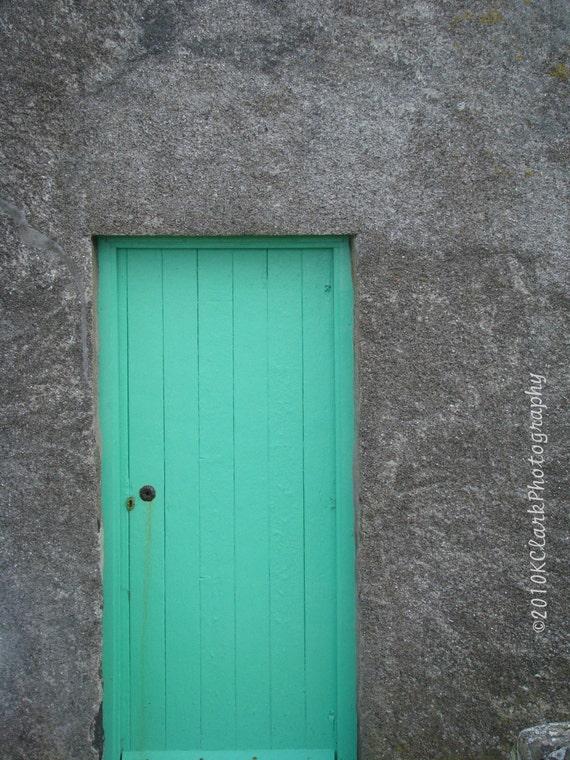 Aqua Scottish Door  8x10 signed photo scotland stone cottage teal blue green minimal decor feminine gray