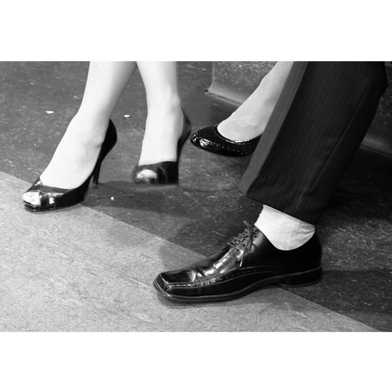 Hers Hers and His  4x6 signed photo black and white wedding party waiting to dance quirky odd white socks high heels and smile
