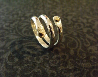 Sterling Silver Wrap Ring - Hammered Wrap Ring - Bronze Rivets, 8g