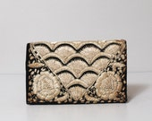 1950s Silver Thread Embroidered Clutch