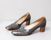 SALE - 1950s Heels - Slate Blue Leather Stud Heels Size 8.5