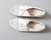 1980s Oxfords - White Woven Leather Oxford Flats Size 7