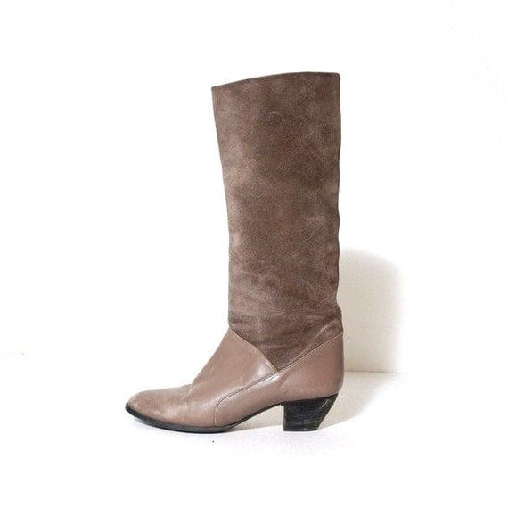 Italian Grey Tall Boots Size 6.5