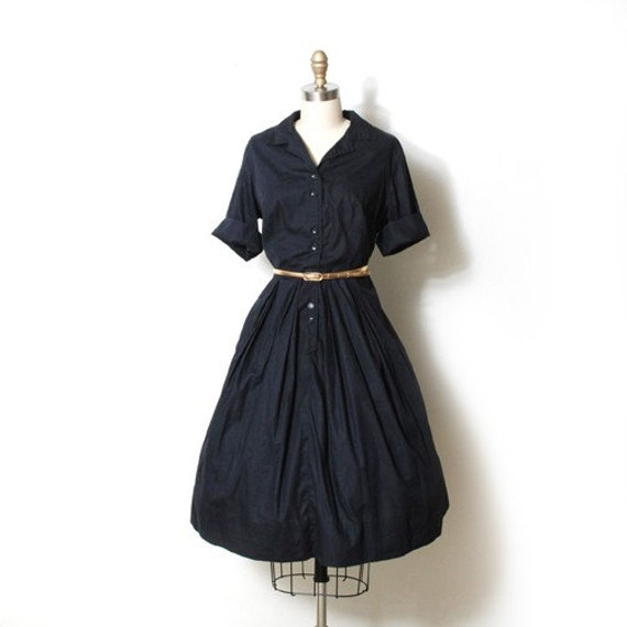 Black 50s Full Skirt Shirt Waist Dress