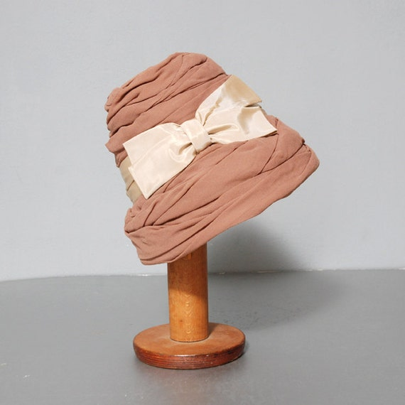 Taupe Chiffon Tall Cloche Hat