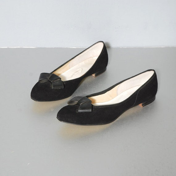 Happy Hikers Deadstock Black Leather Bow Flats Size 7.5