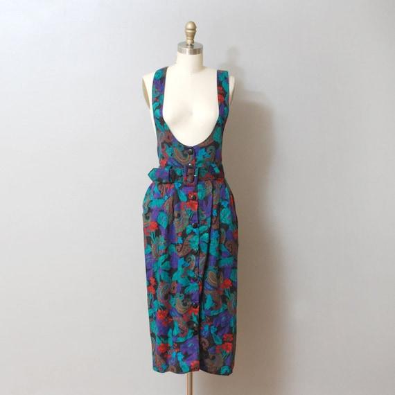 SALE - Jewel Tone Floral Paisley Suspender Dress