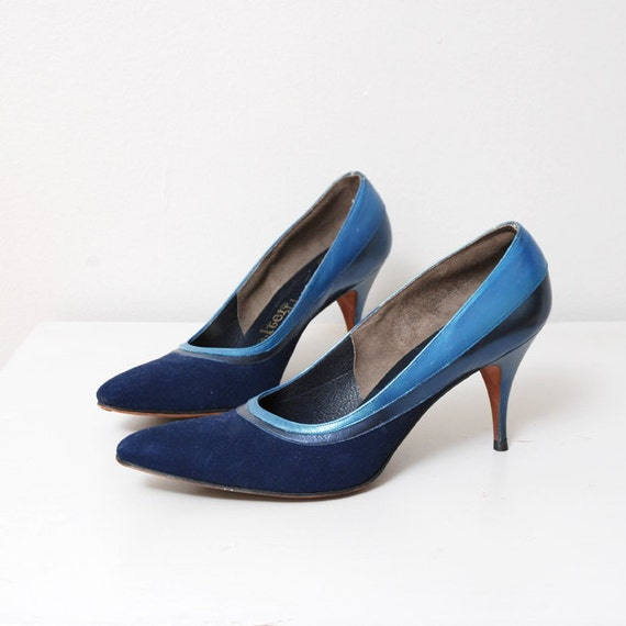 50s Pinup Heels Navy Blue Leather Size 7.5