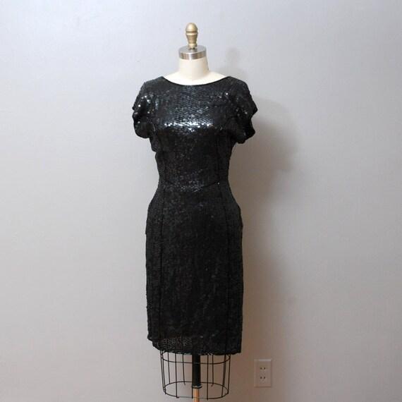 SALE 1980s Black Sequin Cocktail Dress