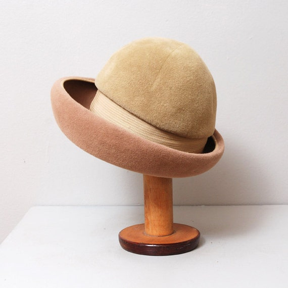 1950s Derby Hat in Two Tone Tan