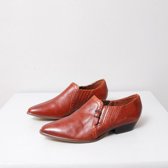 1980s Whiskey Leather Ankle Boots Size 6.5 - Deadstock