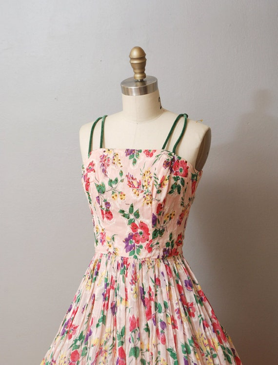 1950s Dress - Floral Party Dress with Full Skirt