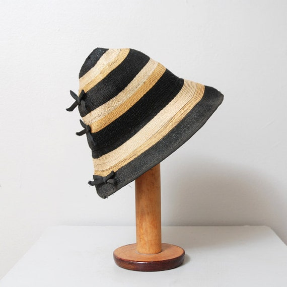 1940s Hat - Woven Black and Brown Stripe Hat