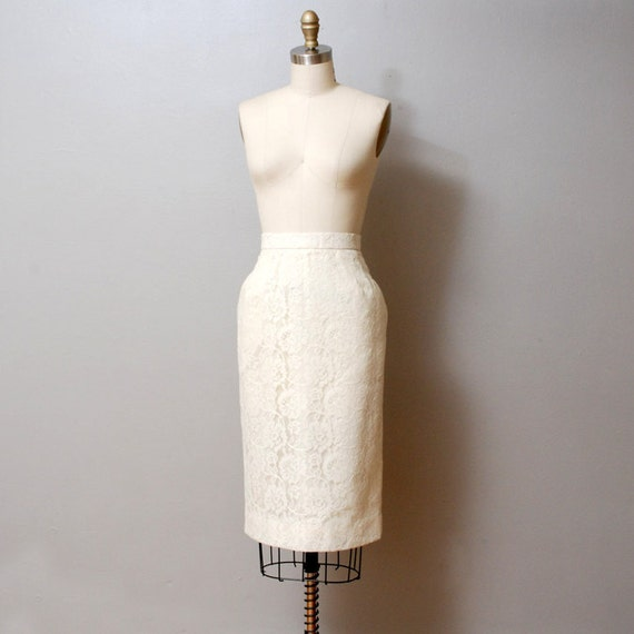 1980s Lace Illusion Pencil Skirt - Ivory Floral Lace
