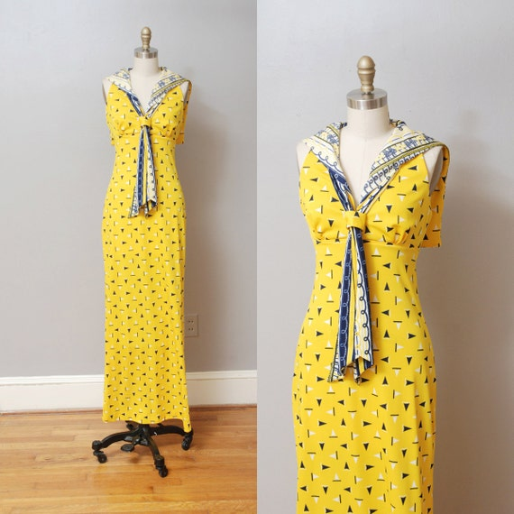 1960s Maxi Dress - Yellow Sailor Ascot Dress with Sailboats