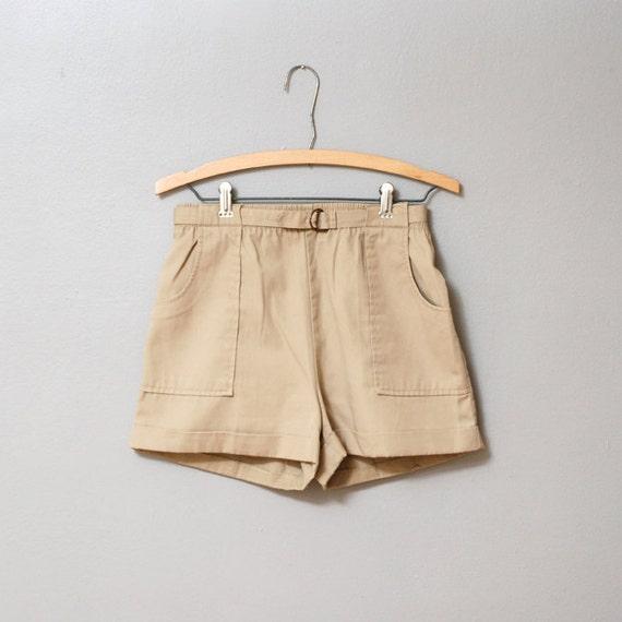 1980s Mini Shorts - Khaki Camper High Waist Shorts