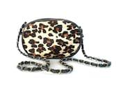 Vintage Leopard Print Purse // Leopard Fur Evening Bag // Chain Handle Mini Purse
