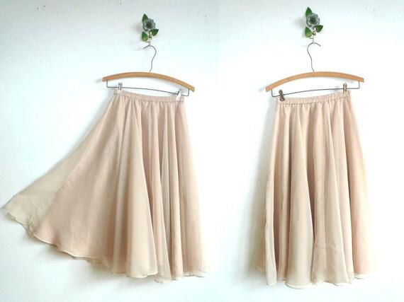 Vintage Sheer Midi Skirt // NUDE // Ballet Skirt
