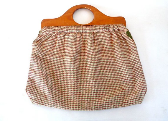 SALE Vintage Knitting Bag // Houndstooth Pattern Tote