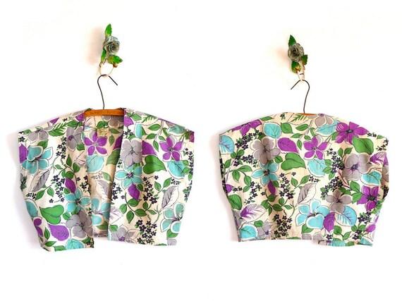 Vintage 50s Floral Blouse // SPRING SHRUG // 1950s Bolero