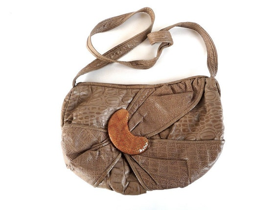 Patchwork Leather Purse // SNAKE MOON // Taupe Reptile Bag