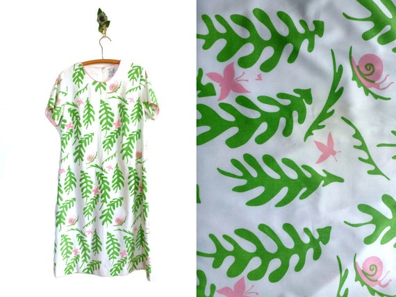 Vintage Fern Print Dress // THE VESTED GENTRESS // 70s Novelty Print Dress
