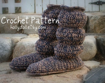 Crochet pattern- Men's cozy slipper boots instructions for US sizes 8, 9, 10, 11, 12, 13, 14, 15