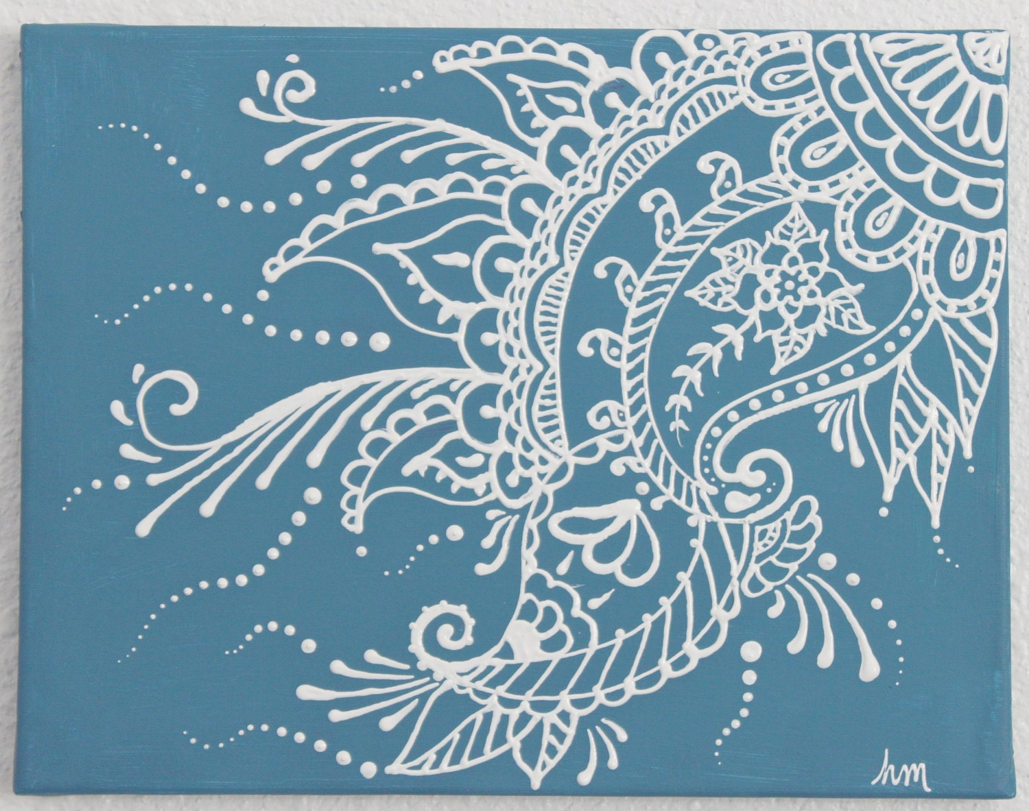 Mehndi Henna Painting 11x14 Stormy Blue And
