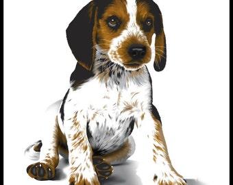 Beagle Puppy - 10 x 10 portrait