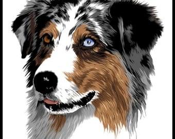 Australian Shepherd  - 10x10in portrait