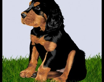 Gordon Setter Puppy - 10x10in portrait