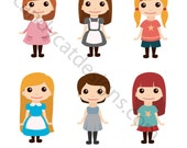 Cute girls set - digital clipart