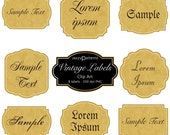 Digital Vintage Labels Set of 8 CA007 instant download