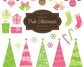 Pink Christmas clipart for scrapbooking, card making, invitations CA012 instant download