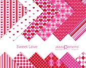 Sweet Love Valentine digital paper pack  DP049 instant download