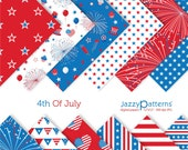 Patriotic digital scrapbooking paper pack 4th Of July DP081 instant download