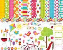 Summer clip art and digital paper pack Summertime DK008 instant download